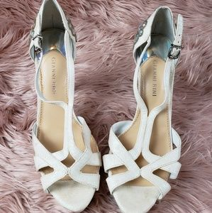 Gianni Bini Jeweled White Heels